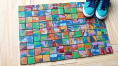 """I used some 1/2"""" plywood scraps to make a flexible wood rug that also doubles as a piece of art for my workspace. Watch how I made it here! For the best durabil…"""