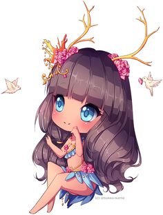 Celshading old-style chibi commission for Ejeect I really enjoied drawing the hair and the flowers *--* she's so cute~~ simple and adorable OC <3 <3 I hope you like it ♥ - - - Made in ...