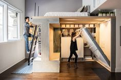 Donnie Wang, left, and Nicole Chiu-Wang added a loft structure to their studio in San Francisco's Financial District. Architects Peter Suen and Charles Irby, designed the freestanding structure. House Furniture Design, House Design, Small Space Living, Small Spaces, Tiny Apartments, Studio Apartments, Tiny Studio, Amazing Spaces, Space Saving Furniture