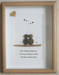 Pebble Art framed Picture Best Friends