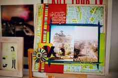 #2 Now the challenge: create a layout that starts from this design. You can use any papers or colours you like, but before you add any pictures, start with that large box of paper in the background, a wide vertical strip plus a narrow stripe and a horizontal block. Then complete a layout!