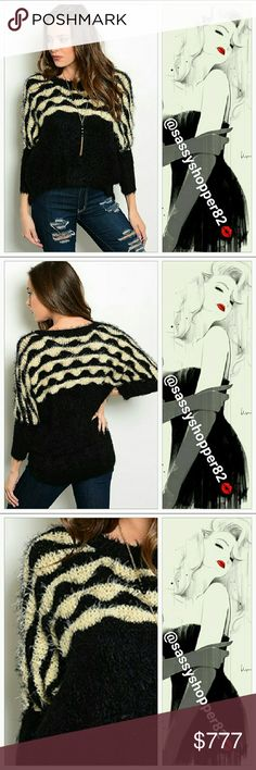 Coming soon!! Fuzzy Cream & black sweater Brand new Boutique item Price to be $39   Fuzzy black and cream sweater!! Easy to pair with jeans and boots for a trendy look.    50% ACRYLIC 50% POLYESTER Sweaters Crew & Scoop Necks