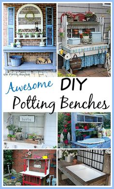 DIY Potting Bench Ideas-Having a potting bench makes working in the garden so much easier and more organized. Here's a great collection of DIY potting bench ideas to inspire you. Outdoor Projects, Garden Projects, Diy Projects, Backyard Projects, Potting Station, Potting Tables, Outdoor Potting Bench, Outdoor Benches, Pot Jardin