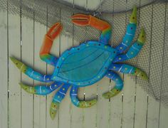 48in Metal Teal Crab Wall Art