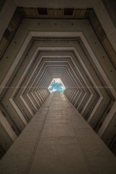 Ooh neat! - but kind of ominous. I could see this as a Stargate or a hallway to the principle's office. :P  ☮ Unique Modern Architecture Foyer by Edward  Tian, via 500px