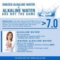 Ionized Alkaline Water & Alkaline Water are not the Same http://www.alkalux.com/knowledge-base/about-alkaline-water.html