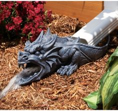 Fire breathing dragons have nothing on the water breathers. If you have any doubt, just check out the dragon rainspout statue in action. During storms, the dragon statue begins spewing out a steady stream of water. It's the perfect gift for any home. Lawn And Garden, Garden Art, Home And Garden, Willow Garden, Garden Water, Outdoor Statues, Garden Statues, Outdoor Baths, Garden Sculptures