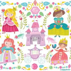 Make every dream come true with these fancy princesses by Jill Howarth. @zippyboro . . . . . #surfacedesign#licensing#artistsoninstagram#luckiestagentever #jennifernelsonartists#illustration#pattern#surfacepattern#surfacepatterndesign#illustratorsoninstagram #illustration#artlicensing #princesses #castle #princess