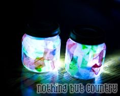 baby food jar, tissue paper, glue, and a LED light = night light.  such a fun, easy craft and would be nice for at night when camping.