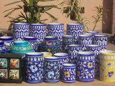 Blue pottery from Jaipur, Rajasthan, India Blue Pottery Jaipur, India Decor, Rajasthan India, Planter Pots, Sculptures, Decor Ideas, Indian, Antiques, Business