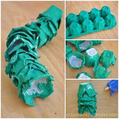 alligator tail made from egg carton