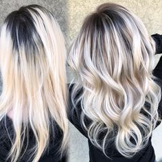👉🏻Going from 4 inch dark roots with platinum blondish .) 👉🏻Going from 4 inch dark roots with platinum blondish .) 👉🏻Going from 4 inch dark roots with platinum blondish . Platinum Blonde Balayage, Icy Blonde, Blonde Wig, Balayage Hair, Going Blonde From Brunette, Babylights Blonde, Baylage, Blonde Hair With Roots, Dark Roots Blonde Hair Balayage
