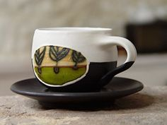 Pottery Coffee Cup with Saucer, Espresso cup, Tea cup Check It Out Now     $26.00    Unique coffee cup, wheel thrown pottery. Hand thrown and hand painted ceramic coffee cup with saucer. Green, beige, w ..  http://www.handmadeaccessories.top/2017/04/01/pottery-coffee-cup-with-saucer-espresso-cup-tea-cup/