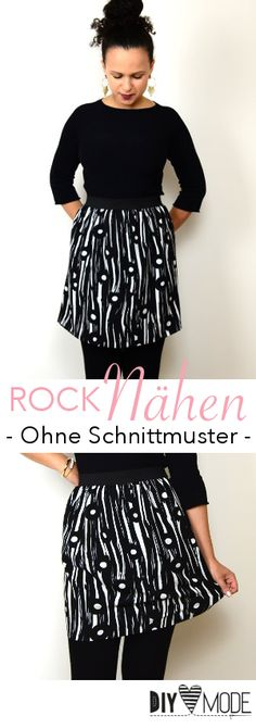 Sew simple skirt / DIY fashion sewing instructions-Einfachen Rock nähen / DIY MODE Nähanleitung Sew simple skirt without sewing pattern. Clothing Hacks, Clothing Items, Clothing Patterns, Dress Patterns, Diy Fashion No Sew, Fashion Sewing, Clothes Crafts, Sewing Clothes, Simple Dresses