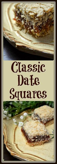 This recipe for these Easy Classic Date Squares is the perfect dessert for your . CLICK Image for full details This recipe for these Easy Classic Date Squares is the perfect dessert for your any time of th. Date Recipes, Sweet Recipes, Recipes With Dates, Baking Recipes, Cookie Recipes, Dessert Bars, Brownies, Christmas Baking, Christmas Time