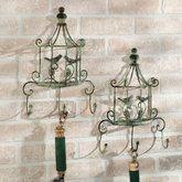 Vintage Garden Birdcage Wall Hook Rack Light Green Set of Two