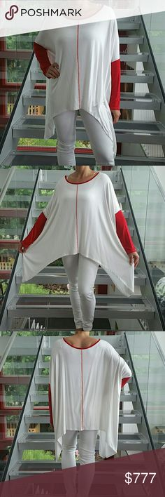 Fun and comfy top NWOT Brand new without tags  Playful and comfy top. White with red sleeve detail and red threading. Pair with white pants or jeans and you are ready to go.   95%rayon 5%spandex Size large Tops