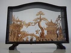 Vintage-San-You-Asian-Diorama-Miniature-Carved-Cork-Scene-of-Pagoda-and-Cranes
