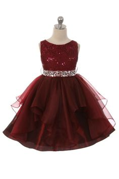 Girls Dress Style 357 - BURGUNDY Sparkly Embroidered Organza Dress with Rhinestone Waist Classic beauty with extra flare. We love this style because it can be worn from event to event. So much versatility! This is a style that is timeless and can be passed from one generation to the next. This sleeveless organza dress has a gorgeous beaded embellished waist that gives the style pizzazz.  http://www.flowergirldressforless.com/mm5/merchant.mvc?Screen=PROD&Product_Code=MB_357BUR&Stor..