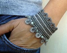 Silver Crochet Bracelet Cuff with Japanese Beads, Freeform Crochet Jewelry Handmade Bracelet Cuff Unique Gift