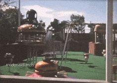 MCDONALDLAND PROMOTIONAL PARK || This clip features the Mayor McCheese Round-a-bout, Big Mac Climber, Evil Grimace Bounce & Bend, McDonaldland Swing and bouncer spring toys. I created this GIF from the rare McDonaldland Promotional Video. In the 16mm 12-minute industrial film from 1972, Setmakers shows off the large line of park-like attractions they could build and install to attract customers to McDonald's.