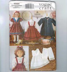 Doll Sewing Pattern Vogue 7099 18 Inch Doll American Girl Size Heirloom Dress Jumper Blouse Teresa Layman Pattern UNCUT. $30.00, via Etsy.