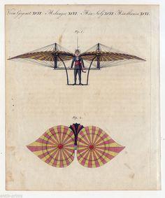 Degen´s Flugmaschine Fliegen Luftfahrt Bertuch Kupferstich 1810 | eBay