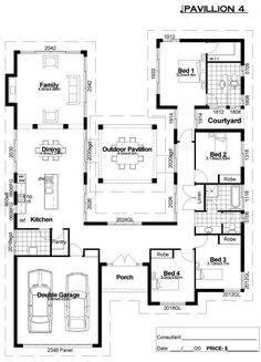 But the kitchen where the garage is and archways opening it up into the dining then family room. David McCoy Homes - Dream Home Floorplan! so in love with this plan U Shaped House Plans, U Shaped Houses, New House Plans, Dream House Plans, Modern House Plans, House Floor Plans, The Plan, How To Plan, Hacienda Style Homes