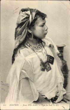 Postcard Algerien, Jeune Fille Arabe, Type du Sud, portrait einer Araberin, Maghreb