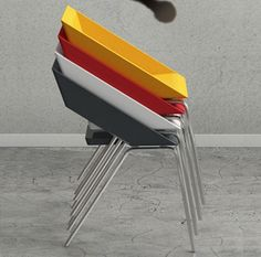 Creative and Aesthetic Colorful Stacks Quba Chair for Interior Furnishing by & Then Design