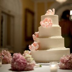 cake with flowers around it