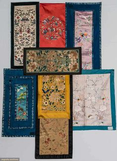 Eight Embroidered Textiles, China, 1900