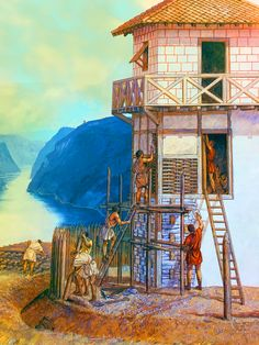 Roman legionaries building a watch tower over the Danube River
