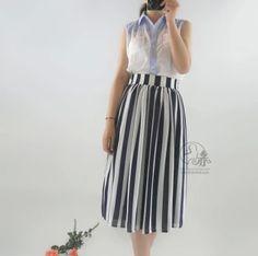 Zomer Vrouwen Elegante Retro Vintage Mid-kalf Verticale Zwart-wit Streep Rok Dames Plus Size Lange Chifon Geplooide rok