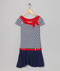 Take a look at this Navy Stripe Nautical Bow Dress - Girls by Gerson & Gerson on #zulily today!