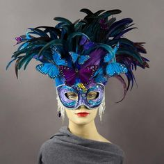Feather Mask, Blue Feather, Monarch Butterfly Costume, Coque Feathers, Masquerade Party, Shades Of Purple, Mask Design, Swarovski Crystals, Masks
