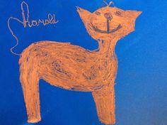 ABK Mortsel LG, tekening rond verhaal oranje kat - werk van harold