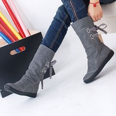 Find More Women's Boots Information about Brand Women Winter Snow Boots Mid Calf Solid Wedges Ladies Height Increasing Shoes Casual Leather Boot Woman Warm Botas Mujer,High Quality shoe stand,China boots flat shoes Suppliers, Cheap boot shoes men from LeiShu E-Commerce Co., Ltd Store on Aliexpress.com