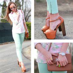 shoes floral shirt blue pants