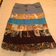 Denim tiered skirt Washed denim jeans yoke, multi tiers, net hem. Panitti Skirts A-Line or Full