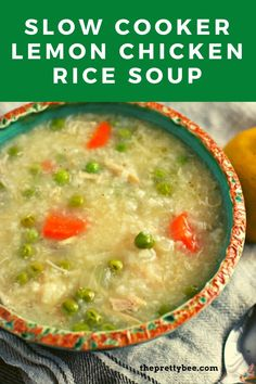 Simple, tasty, and so comforting, this chicken lemon rice soup is perfect for a rainy day. Make it in the slow cooker to keep things super simple. #slowcooker #lemon #chickenrice #soup #recipes Creamy Soup Recipes, Best Soup Recipes, Vegetable Soup Recipes, Chili Recipes, Lemon Rice Soup, Lemon Chicken Rice, Gluten Free Recipes For Dinner, Dairy Free Recipes, Dinner Recipes