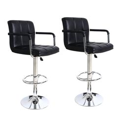 Adeco Black Faux-Leather, Adjustable Barstool Chair with Armrests, Chrome Base (Set of 2)   Overstock™ Shopping - Great Deals on Bar Stools