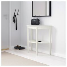 IKEA - ARKELSTORP, Console table, white, Solid wood is a durable natural material. Separate shelf for magazines, etc. helps you keep your things organized and the table top clear. At Home Furniture Store, Modern Home Furniture, Affordable Furniture, Table Console Blanche, White Console Table, Range Magazine, Consoles, Window Table, Glass Side Tables