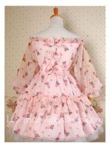 Pink Chiffon Off the Shoulder bear print Wa Lolita Dress Style