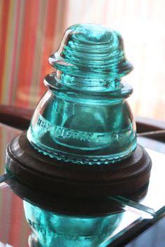 HEMINGRAY 42 Antique Insulator Night Light ~ Upcycle Desk Lamp ~ Pretty Aqua, Light Turquoise, Blue Teal <3