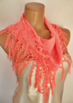 New Design Pashmina scarf with lace light coral by smilingpoet, $18.90