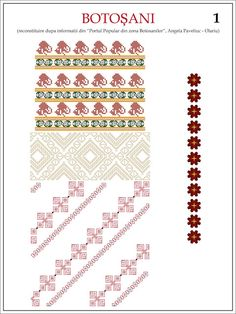 Semne Cusute: iie din MOLDOVA, zona Botosani (reconstituire) Simple Cross Stitch, Cross Stitch Borders, Cross Stitch Patterns, Folk Embroidery, Embroidery Patterns, Knitting Patterns, Hama Beads, Beading Patterns, Pixel Art