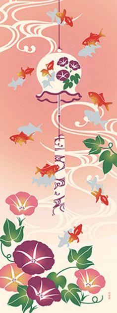 Japanese Tenugui cotton towel fabric. Goldfish + morning glory design. High quality tenugui fabrics made of soft 100% cotton cloth and hand dyed by Japanese master dyers. [ H o w T o U s e ] * towel * washcloth * dishcloth * headband / bandanna * scarf * wall hanging (like a