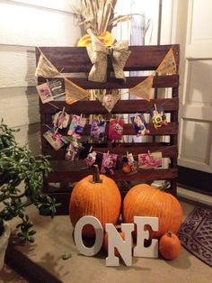 First birthday little pumpkin theme wood pallet decor. All the babies monthly ph Pumpkin Patch Birthday, Pumpkin Patch Party, Pumpkin Birthday Parties, Pumpkin First Birthday, Halloween 1st Birthdays, Fall 1st Birthdays, Pumpkin 1st Birthdays, Halloween First Birthday, 1st Boy Birthday