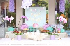 Tablescape from this Under the Sea Birthday Pool Party at Kara's Party Ideas. See more at karaspartyideas.com!